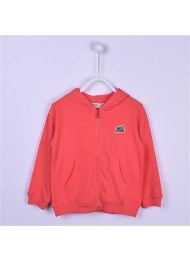 Silversun Kids Coral Kapşonlu Önden Fermuar Kapamalı Cepli Uzun Kol Kız Çocuk Sweatshirt Jm 213212 Mercan